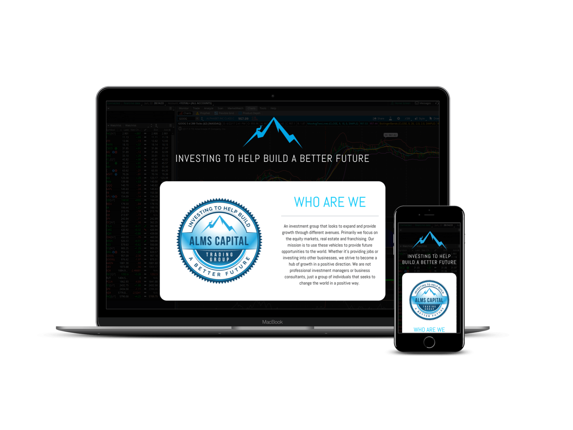 Alms Capital Trading Group screen mockup