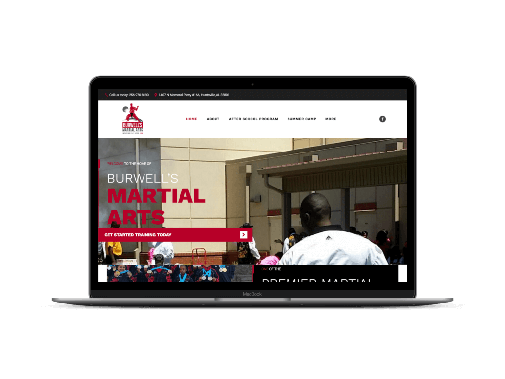 Burwells Martial Arts screen mockup