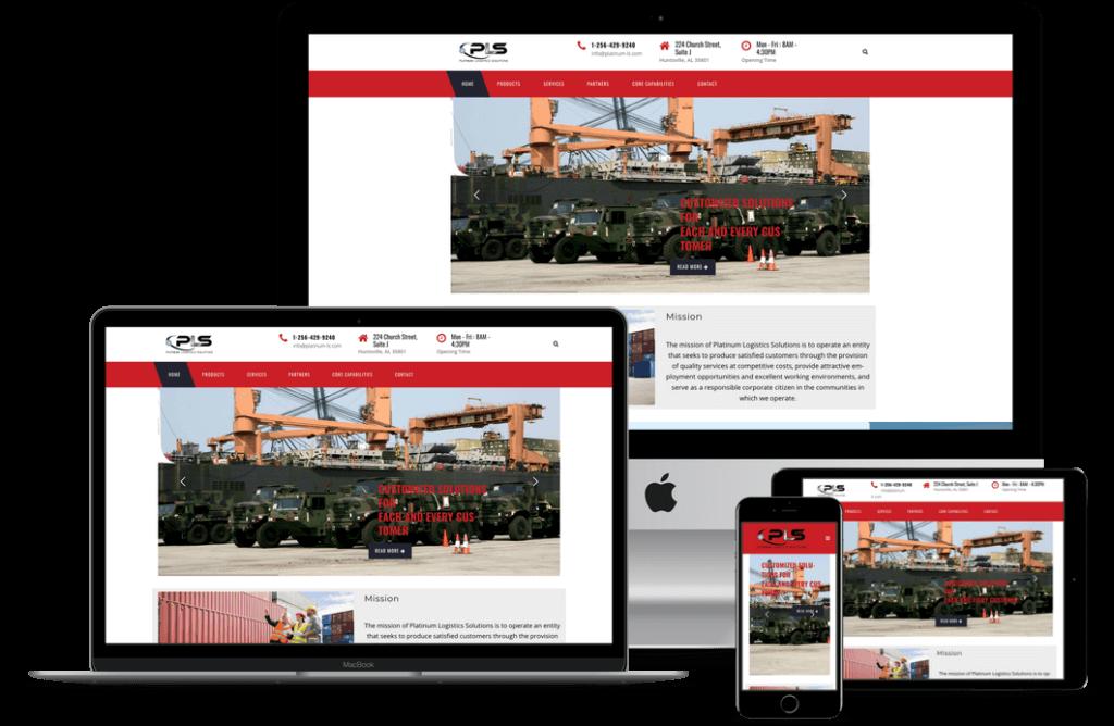 Platinum Logistics Solutions screen mockup