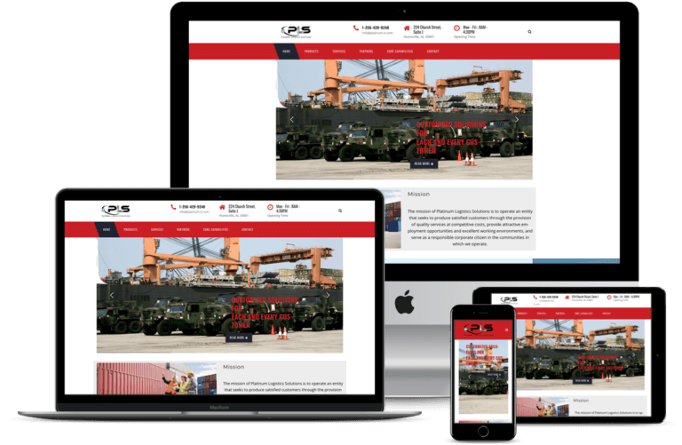 Platinum Logistics Solutions screen mockup